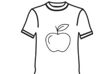 koszulka z jabłkiem kolorowanka do drukowania